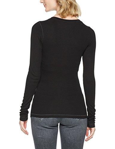 Tommy Jeans Damen T-Shirt TJW Original Rib Henley Schwarz (TOMMY Black 078)