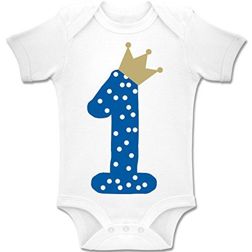 Shirtracer Geburtstag Baby - 1. Geburtstag Krone Junge Erster - 6-12 Monate - Weiß - BZ10 - Baby Body Kurzarm Jungen Mädchen
