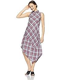 AND Women's Checkered Regular Fit Shirt (EC18A114TUCH1BRN/BLU8)