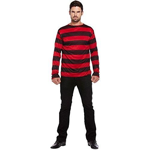Kostüm Gestreifter Pullover (Schwarz/Rot) (Gestreifter Pullover)