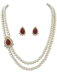 Classique Designer Jewellery White Two Layers Pearl Necklace With Red Beads & CZ Stones Side Brooch Earrings Of...