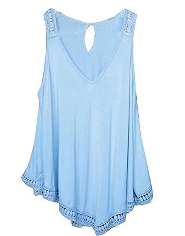 Women's Sleeveless Lace Crochet Asymmetrical Hem Tank Top (UK 8, Blue)