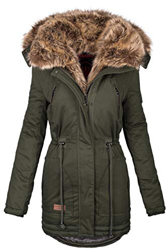 Navahoo warme Damen Winter Jacke Parka lang Mantel Winterjacke Fell Kragen B380 [B380-Grün-Gr.XL] Warme Winter-jacke
