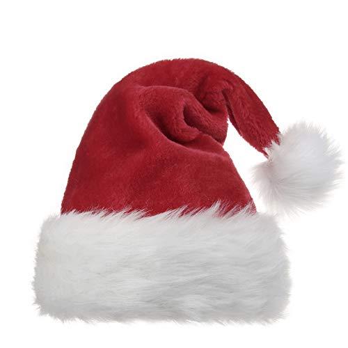 OPOLEMIN Weihnachtsmütze für Erwachsene Weihnachtsmütze für Männer und Frauen Plüsch Red Velvet & Comfort Liner Weihnachten Halloween-Kostüm ()