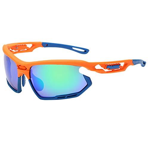 EUCoo Schutzbrillen Fahren Professionelle Polarisierte Radsportbrille Sport Sonnenbrillen Sonnenbrillen Mit Uv-Schutz(Orange)