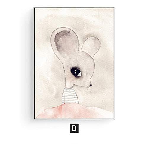 DLFALG Moderne Rosa Niedlichen Cartoon Tiere Engel Mädchen Wandkunst Leinwand Malerei Fox Poster Kindergarten Drucken Bild Kid Baby Room Home Decor Druck Auf Leinwand / 50X70 cm Kein Rahmen/B - Baby Fox-bild