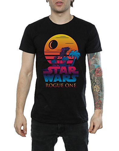 Star Wars Herren Rogue One Logo Sunset T-Shirt Schwarz