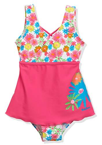 Playshoes Mädchen UV-Schutz Badeanzug mit Rock Blumenmeer Einteiler, Mehrfarbig (Pink 18), 122 (Herstellergröße: 122/128)