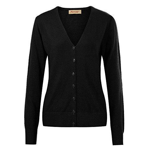 Panreddy Women's Wool Cashmere Classic V Cardigan Sweater Black M