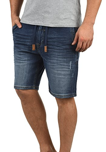 Blend Bartels Herren Jeans Shorts Jogger-Denim Kurze Hose Mit Elastischem Bund Und Destroyed-Optik Aus Stretch-Material Slim Fit, Größe:M, Farbe:Denim Darkblue (76207)