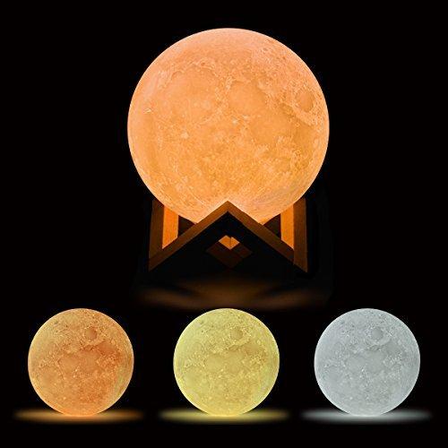 Mond Lampe Nachtlampe, Bonega® ( 5.9 Inch/15CM )3D Nachtlicht Nachttischlampe Stimmungslicht LED Licht, Dimmbare Touch Lampe für Wohnzimmer , Geschenk für Home Decor Weihnachten Geburtstag Freundin (Helle Halo-lichter)