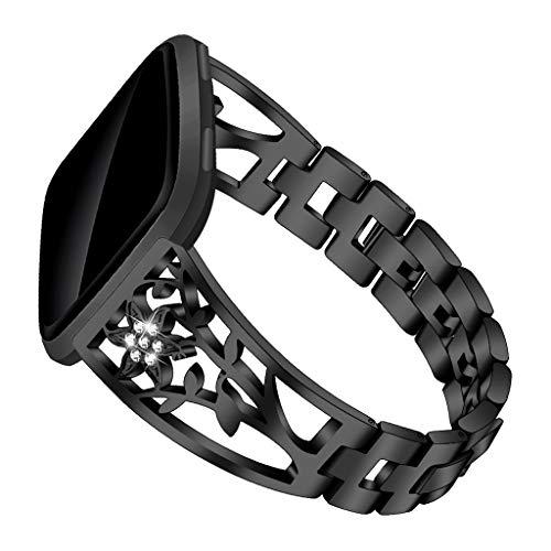 Elegantes Universal-Ersatzarmband,Seestern halter Kettenband, verschleißfester,Exquisiter Doppel faltschließe-Entwurf,Micro-Rebound armband,für Damen Männer,für Fitbit/Versa Lite (Schwarz) - Fitbit-armband Faltschließe