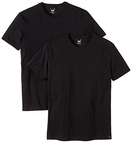 Lee Herren T-Shirt 2 er Pack TWIN PACK CREW SS - L680BC01, Gr. 60/62 (XXL), Schwarz (BLACK) (Lee Crew T-shirt)