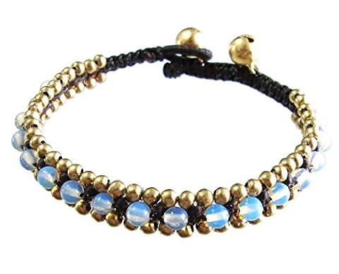 Artisanat Asiatique Bracelet Fait Main Chaîne de Cire Perles en Laiton Cloche Couleur Or Azur Thaïlande