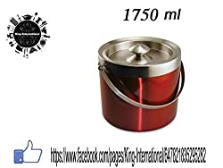 King International Stainless Steel Double Walled,Insulated Red Coloured Ice B...