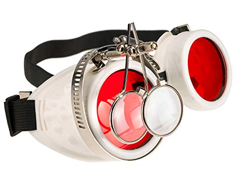 4sold Loupe Steampunk Black Cyber Gafas Rave Goth Vintage Victorian como Gafas de Sol Oro Antiguo Cobre Gafas Transparentes Vintage (Eye Loupes White)