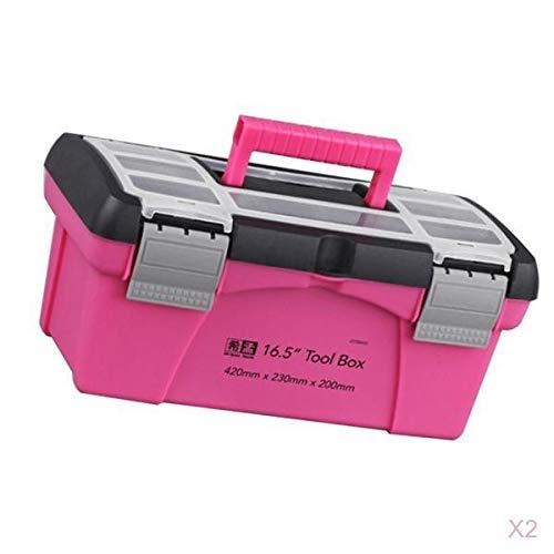 joyMerit 2 Stücke Rosa Aufbewahrungsbox Toolbox Haushalts Aufbewahrungsbox Multifunktionsbox 10in