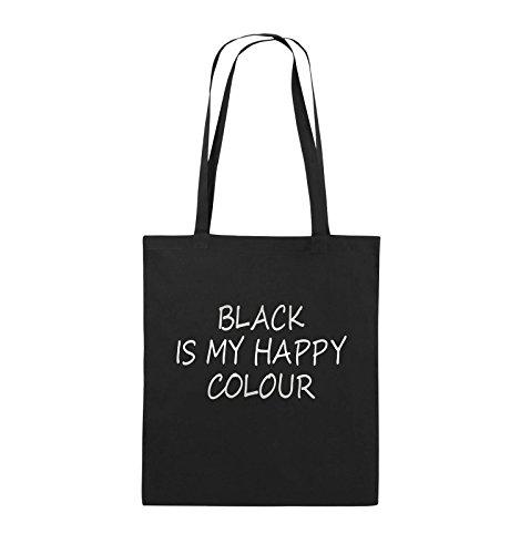 Comedy Bags - BLACK IS MY HAPPY COLOUR - Jutebeutel - lange Henkel - 38x42cm - Farbe: Schwarz / Silber Schwarz / Silber