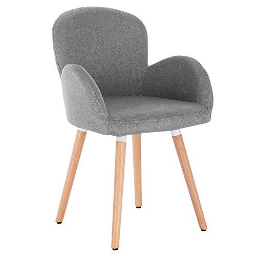 WOLTU 1x Esszimmerstühle Küchenstuhl Wohnzimmerstuhl Polsterstuhl mit Armlehne Leinen Ma