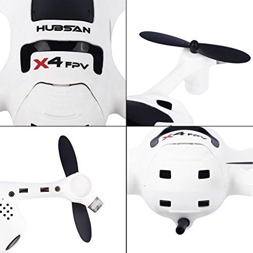 Ollivan® Hubsan X4 Plus H107D + Aktualisierte Version FPV Quadcopter 2.4GHz + 5.8GHz 6-Achsen 720P Kamera mit 4 LED Leuchten Nacht RTF Video Übertragung(Hubsan H107D+) - 2