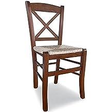 Sedia in legno massello colore noce seduta in paglia ristorante casa PAESANA CROCE nuova già montata