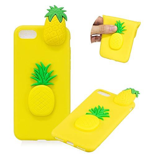 TPU Hülle für iPhone 8,Weich Silikon Hülle für iPhone 7,Moiky Komisch 3D Ananas Entwurf Ultra Dünnen Scratch Resistant Soft Rückseite Abdeckung Handyhülle