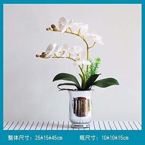 TACKEBU Künstliche Orchidee Gefälschte Blume Phalaenopsis Home Wohnzimmer Dekoration Kunststoff Glas Vase Weiß 25 × 45 cm