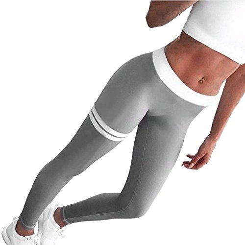 Binggong Damen Hosen, Frauen Sport Yoga Leggings Fitness Leggings Stretch Sport Skinny Hose Pants (S, Grau) (Cropped-stretch-leggings)