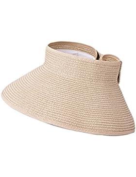 Vococal - Plegable Grande Ala Playa Paja Sol Sombrero del Verano Casquillo del Sombrero de Visera para Viajar...