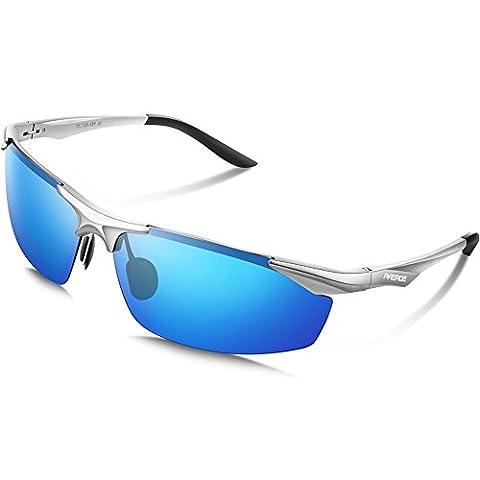 Paerde Sports Sunglasses Polarized for Running Driving Unbreakable Frame Glasses (Silver Blue)