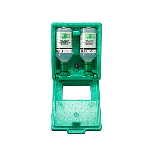 Notfall-Wandbox mit Augenspülflaschen - 2 x Kochsalzlösung - HxBxT 270 x 225 x 110 mm - Augendusche Augennotdusche Augenspülflasche