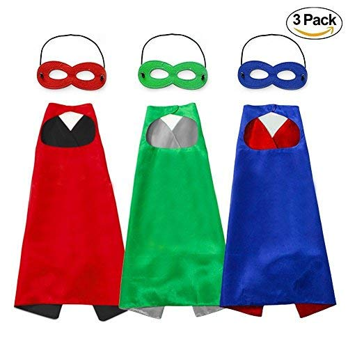 Superhelden Kostüm Stück 4 - Unisex Umhang und Masken, Kostüm in 3 Set für Jungen und Mädchen, Blau, Grün, Rot