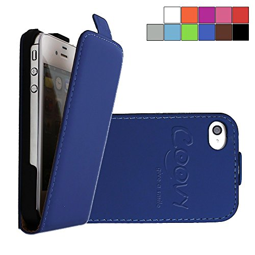 COOVY® Cover für Apple iPhone 4 / 4s Slim Flip Case Tasche Etui inklusive gratis Displayschutzfolie | Farbe dunkelblau