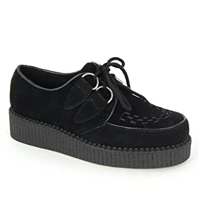 Womens Brothel Creepers Lace Up Platform Ladies Faux Suede Beetle Crusher Flat Shoe Black Size 8 UK