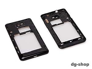 Original Samsung Galaxy S2 i9100 Schwarz Mittel Rahmen Rahm Cover Kamera Camera Linse Glas Abdeckung Fenster Mittelgehäuse