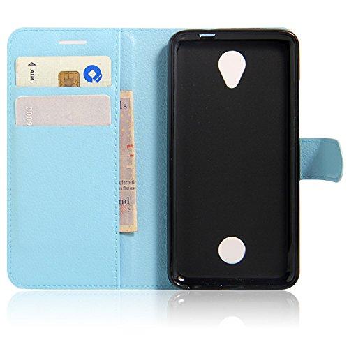 PREVOA ® 丨Flip PU Hülle Cover Case Schutzhülle Tasche für Acer Liquid Zest Dual Micro Sim Card 3G Smartphone - (Blau)