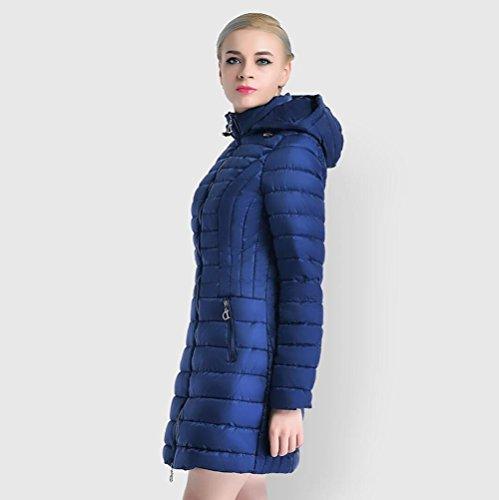 Donne Inverno Parka Cappuccio Sottile Lungo Cerniera Cappotto Invernale Caldo Invernale dark blue