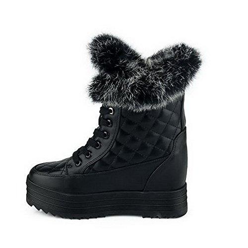 VogueZone009 Damen Schnüren Hoher Absatz PU Leder Gemischte Farbe Niedrig-Spitze Stiefel, Schwarz, 39