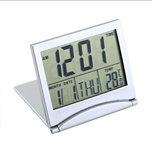 Jinxuny Schreibtisch Digitaluhr Reise Radio Clock LCD Folding Digitalwecker Faltbarer Wecker Timer Kalender mit Thermometer Timer Kalender Uhr Benutzerhandbuch (Lcd Clock Radio)