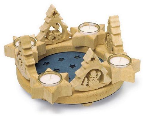 """Adventskranz \""""Sterne\"""", Weihnachtsdeko aus Holz mit vier abnehmbaren Tannen für eine individuelle und abwechslungsreiche Weihnahchtsdeko"""