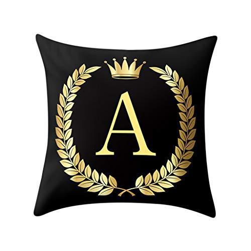 Doingshop-Pillow Cases Funda de cojín con diseño de Letras del Alfabeto, 45,7 x 45,7 cm, Color Negro...