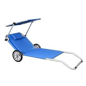 transat plage chaise longue 224 roulettes malibu bleu parasol integr 233 chariot max fr