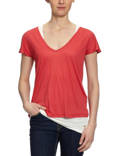 MEXX - Maglietta, collo a v, manica corta, donna Rosso (Rot (623))