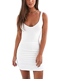 Minetom Women Summer Sexy Sleeveless Mini Dress Ladies Backless Solid Color  Bodycon Short Pencil Dresses Cocktail 31ee981fe9b8