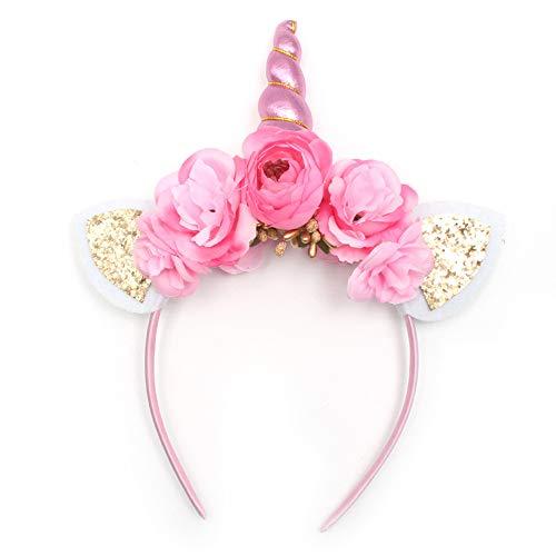 probeninmappx Einhorn Horn Stirnband Haarband mit Ohren Kopf Krone Kleid Cosplay Kostüm
