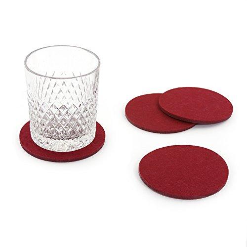 Oblique-Unique® Filzuntersetzer rund 4er Pack für Tisch und Bar - Glasuntersetzer Untersetzer aus Filz (Bordeaux)