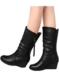 58c8c42bc5bc Bottes GongzhuMM Femmes Suède Cheville Bottines Antidérapant Chaussures  Compensé Bottes de Neige Femmes Automne Hiver Chaud