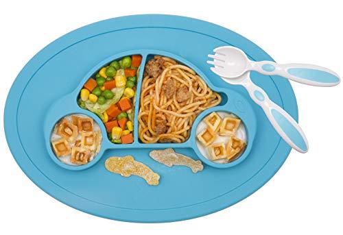 Baby Teller Schüssel Mini Silikon Tischset für Baby Kleinkinder und Kinder Tragbar Teller Baby Rutschfest Babyteller Tischset Abwaschbar für Spülmaschine, Mikrowelle (Auto blau)