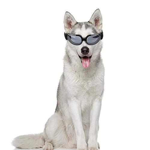 VICTORIE Hunde Sonnenbrille UV Schutzbrillen Wind wasserdicht Sonnenschutz Augenschutz verstellbar für Mittel Hunde Hündchen Welpen Katze Haustier Schwarz