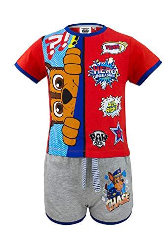 Paw patrol - coordinato set 2pz t-shirt maglia a maniche corte e pantaloncino - full print - bambino - novità prodotto originale con licenza ufficiale 2431es [rosso chase - 3 anni - 98 cm]